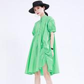 泡泡袖洋裝-純色寬鬆皺褶不規則女連身裙2色73yh30[巴黎精品]