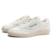 REEBOK 休閒鞋 CLUB C 85 VINTAGE 復古 米白皮革 奶油底 綠LOGO 男 (布魯克林) V67899
