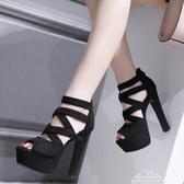 16公分舞臺走秀鞋15cm超高跟粗跟涼鞋恨天高一字扣黑色高跟鞋女夏 新年禮物