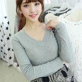 T恤女秋冬韓國性感修身內搭上衣白色百搭緊身 港仔會社