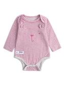 Gap 嬰兒男女 時尚條紋小熊造型長袖包屁衣 494301-粉色條紋