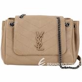 YSL Saint Laurent NOLITA 衍縫小羊皮鍊帶肩背包(駝色)1930159-02
