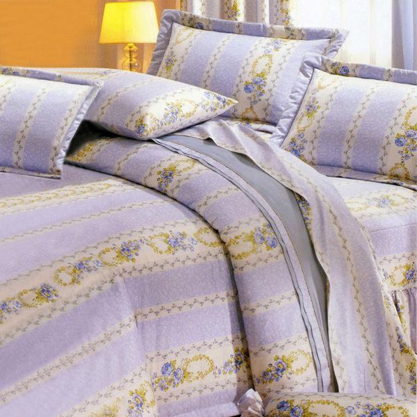 台灣製-花意濃情 雙人特大(6x7呎)四件式鋪棉涼被床包組-藍紫色[艾莉絲-貝倫]T4HC-3B71-BU-L