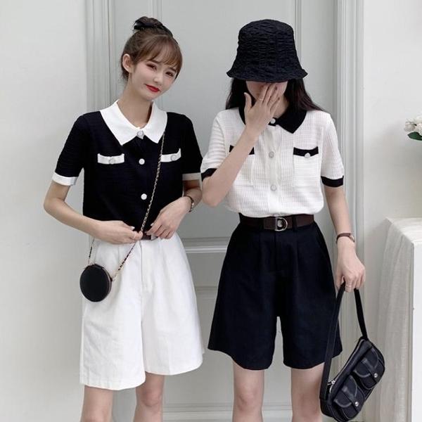 針織套裝 夏季新款網紅洋氣針織短袖polo衫西裝闊腿五分短褲兩件套裝女