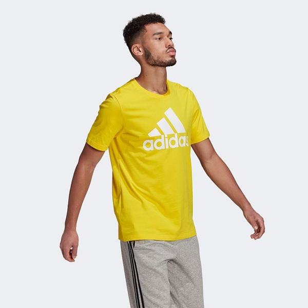 Adidas ESSENTIALS 男裝 短袖 T恤 休閒 大LOGO 棉 黃/黑/灰【運動世界】GM3248 / GK9122 / GK9123
