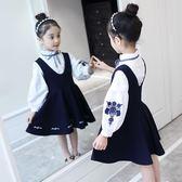 女童春裝套裝裙2019新款韓版時尚女孩洋氣背帶裙兒童連衣裙兩件套