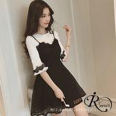 韓系氣質假兩件蕾絲邊背心短版洋裝  (RT0029-PQ57505) iRurus 路絲時尚