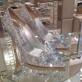 高跟鞋 水晶鞋婚鞋高跟婚紗照鞋白色灰姑娘水鑚單鞋新娘結婚鞋女 新款 韓菲兒