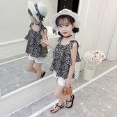女童套裝夏裝2019新款兒童女吊帶裙女孩短褲夏季時髦洋氣兩件套潮 LJ2484【黑色妹妹】