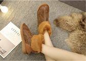靴子 加厚雪地靴短筒學生靴厚底短靴蝴蝶結雪地棉平底面包女靴  瑪麗蘇