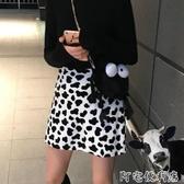 (快出)櫻田川島chic春季網紅可愛毛絨絨奶牛斑點高腰少女半身A字裙短裙
