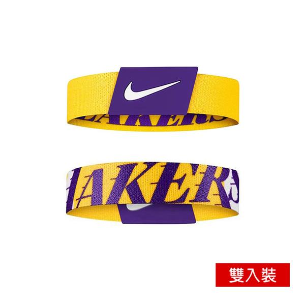NIKE NBA BALLER 手環 湖人 排汗 彈性手環 籃球手環 雙入裝 N1000539760【樂買網】