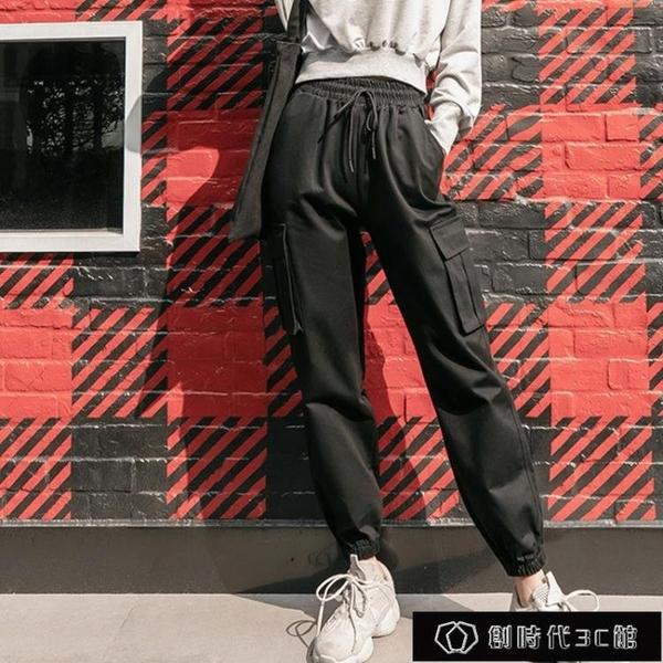 全棉2020新款褲子春秋工裝褲女直筒寬松學生女褲子顯瘦高腰束【全館免運】