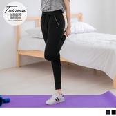 《KS0448》台灣製造.配色滾邊口袋縮口腰鬆緊抽繩運動長褲--適 XL~5L OrangeBear