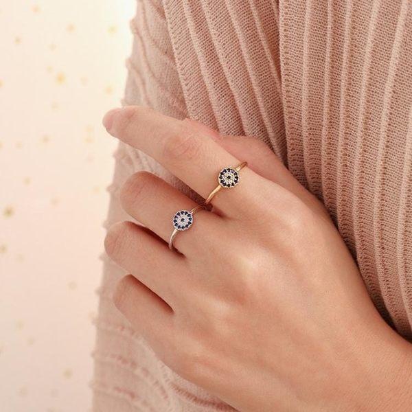 純銀惡魔之眼復古精致戒指小巧氣質土耳其飾品開口戒『潮流世家』