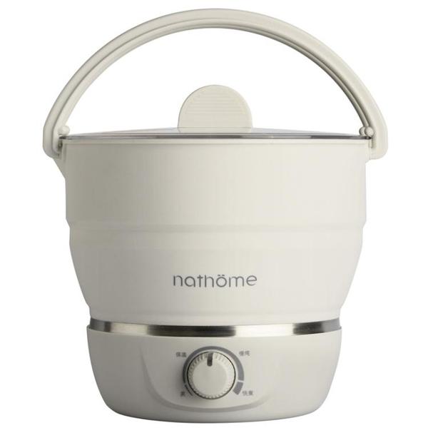 nathome/北歐歐慕A6多功能折疊便攜鍋電煮鍋旅行電熱鍋煮茶電火鍋 220V 亞斯藍