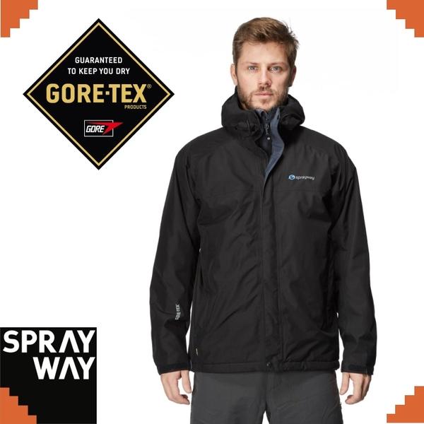 【SPRAYWAY 英國 肯奈 Gore-Tex 單件防水保暖外套《黑灰》】2333/登山/健身/旅行/防潑水