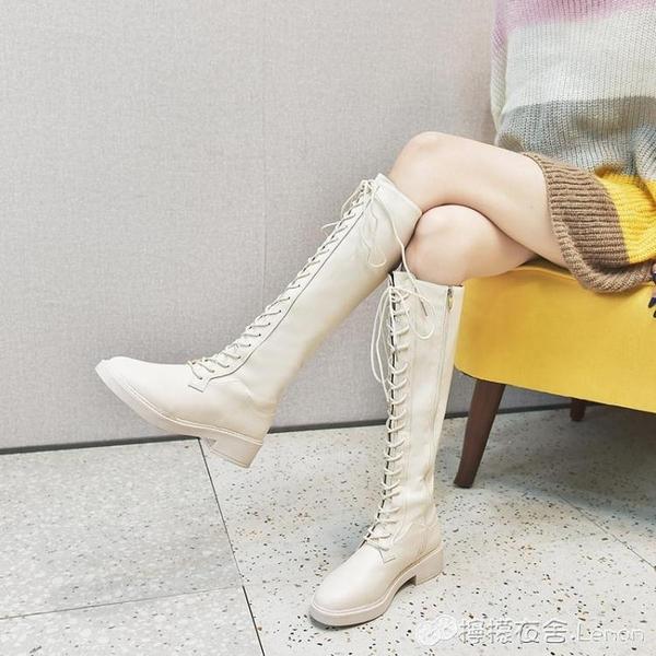 長筒靴女不過膝新款冬季系帶長靴秋皮靴中筒靴女高筒靴機車靴 檸檬衣舎