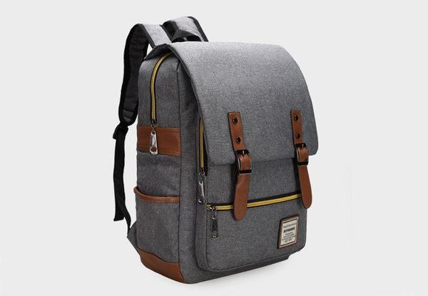 SINGLE單眼皮女孩 流行時尚馬卡龍色系前大拉鍊袋雙側袋內筆電夾側雙皮帶磁釦尼龍後背包