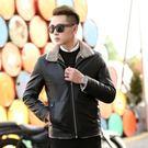 皮衣夾克-冬季毛領純色休閒男外套2色73pn16[巴黎精品]