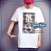 創信 MLB  短袖 洋基 方塊迷彩 白 隊徽 LOGO 短T 5730227-800【SP】