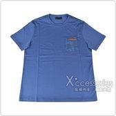 PRADA經典橡膠LOGO拼接口袋純棉短袖T恤(航空藍)