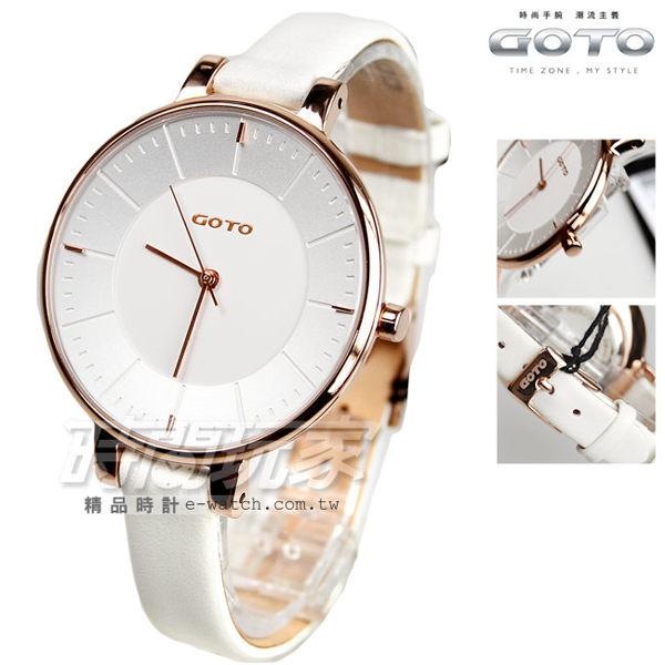 GOTO 個性簡約時尚腕錶 玫瑰金電鍍x白色 真皮錶帶 女錶 GL1040L-42-241 時間玩家