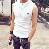 熱銷連帽T恤新款潮流修身連帽無袖T恤男士韓版時尚青年學生拉錬透氣棉體恤衫