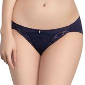 思薇爾-撩波無拘束之花系列M-XXL蕾絲低腰三角內褲(風華藍)