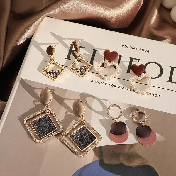 耳環 高級感耳環女韓國2020年新款潮網紅氣質耳墜耳釘復古港風耳飾套裝【快速出貨】