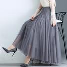網紗裙半身裙大擺女裙黑色顯瘦垂感中長款長裙超仙秋冬季裙子 百分百