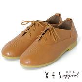 女鞋 圓頭 綁帶 學院風  XES 星狀點點壓紋 低跟  優質棕
