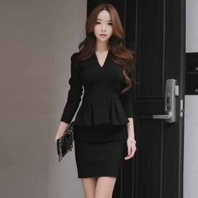 洋裝 韓版 假兩件性感修身包臀 長袖連衣裙 小禮服