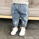 男童褲子 童裝兒童破洞牛仔褲春薄款1-7歲女男童寬鬆長褲寶寶洋氣老爹褲 快速出貨