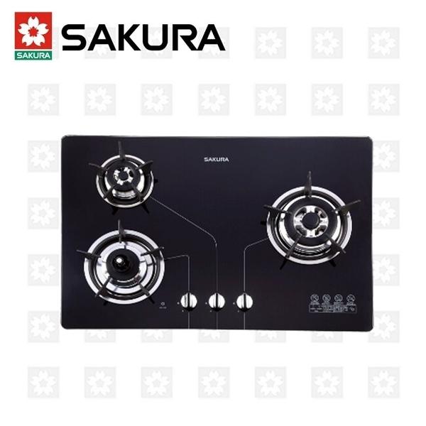 櫻花牌 SAKURA 三口防乾燒節能檯面爐 G-2830KG 限北北基安裝配送 (不含林口 三峽 鶯歌)