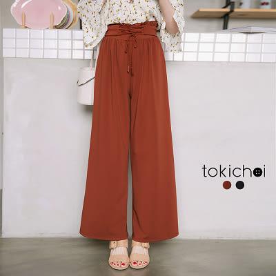 東京著衣-抽皺荷葉腰身綁帶寬褲-S.M.L(171816)