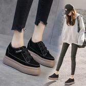 厚底鞋 復古顯瘦內增高韓版單鞋厚底松糕鞋休閒百搭 巴黎春天