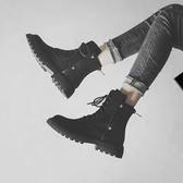 馬丁靴女 黑色馬丁靴女2019秋冬新款英倫風帥氣短靴百搭平底加絨網紅瘦瘦靴 喜樂屋
