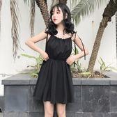夏裝女裝韓版中長款高腰顯瘦吊帶裙一字領露肩無袖連衣裙小黑裙潮