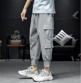 工裝褲 夏季多口袋哈倫束腳男大碼寬鬆薄款工裝休閒褲韓版潮流褲子 JX1406『Bad boy時尚』