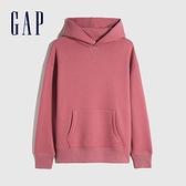 Gap男裝 簡約風格純色連帽休閒上衣 627533-漿果紅色