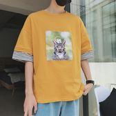 寬鬆5五分袖短袖t恤7七分袖夏天衛衣薄款夏季個性男學生韓版潮流『潮流世家』