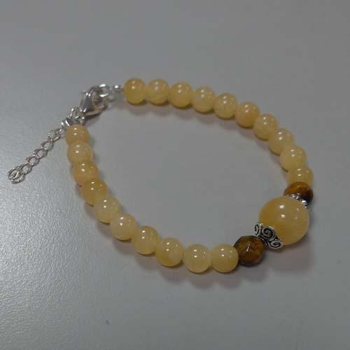 手鍊 - 蜜糖黃玉圓珠與純銀花托手鍊
