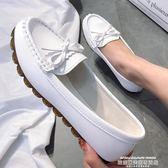 豆豆鞋女2019春季新款平底單鞋牛筋軟底懶人一腳蹬媽媽白色護士鞋 萊俐亞