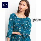 Gap女裝 舒適柔軟花卉荷葉邊上衣 228899-藍色花朵圖案