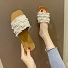仙女拖鞋 外穿拖鞋女鞋涼鞋平底鞋平跟2021夏季新款珍珠網紅時尚休閑涼拖鞋