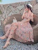 洋裝 雪紡連身裙溫柔仙女裙長裙女夏季夢幻慵懶風收腰韓版裙子