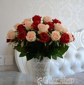 假花仿真花束家居裝飾花單支玫瑰花絹花婚慶客廳擺設塑料干花   color shop
