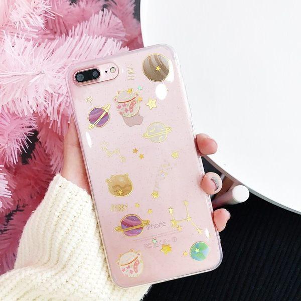 【SZ24】iphone x 手機殼 韓國星空月球滴膠閃粉招財貓 iPhone 6/7/8 plus手機殼 軟殼