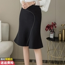 魚尾a字半身裙子女士早春2021年新款高腰顯瘦垂感不規則時尚短裙【快速出貨】